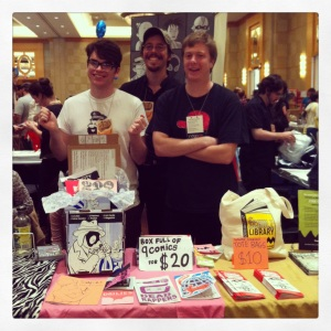 Dog City boys pimping their wares at the Small Press Expo